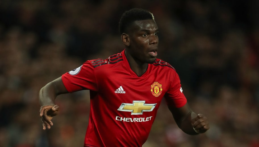 MANCHESTER, ENGLAND - AUGUST 27: Paul Pogba of Manchester United during the Premier League match between Manchester United and Tottenham Hotspur at Old Trafford on August 27, 2018 in Manchester, United Kingdom. (Photo by Matthew Ashton - AMA/Getty Images)