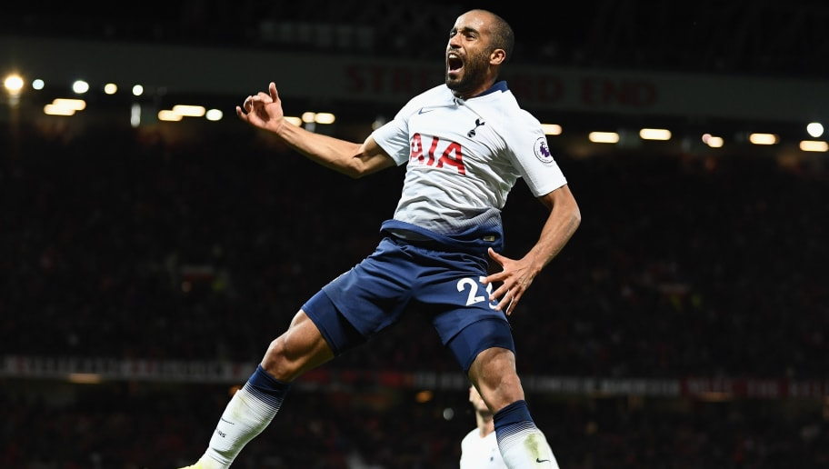 MANCHESTER, ENGLAND - AUGUST 27:  Lucas Moura of Tottenham Hotspur celebrates after scoring his second goal and his team's third goal during the Premier League match between Manchester United and Tottenham Hotspur at Old Trafford on August 27, 2018 in Manchester, United Kingdom.  (Photo by Clive Mason/Getty Images)