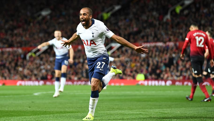 MANCHESTER, ENGLAND - AUGUST 27:  Lucas Moura of Tottenham Hotspur celebrates after scoring his team's second goal during the Premier League match between Manchester United and Tottenham Hotspur at Old Trafford on August 27, 2018 in Manchester, United Kingdom.  (Photo by Clive Mason/Getty Images)