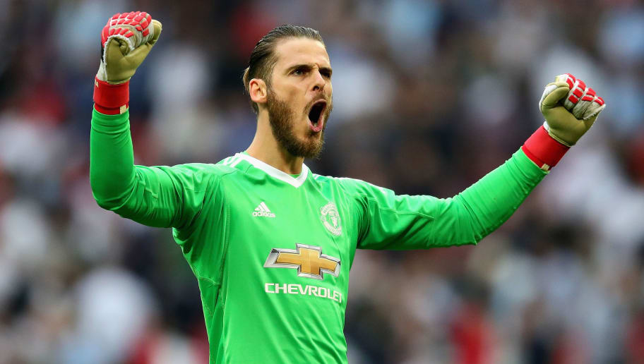 LONDON, ENGLAND - APRIL 21:  David De Gea of Manchester United celebrates victory after The Emirates FA Cup Semi Final match between Manchester United and Tottenham Hotspur at Wembley Stadium on April 21, 2018 in London, England.  (Photo by Chris Brunskill Ltd/Getty Images)