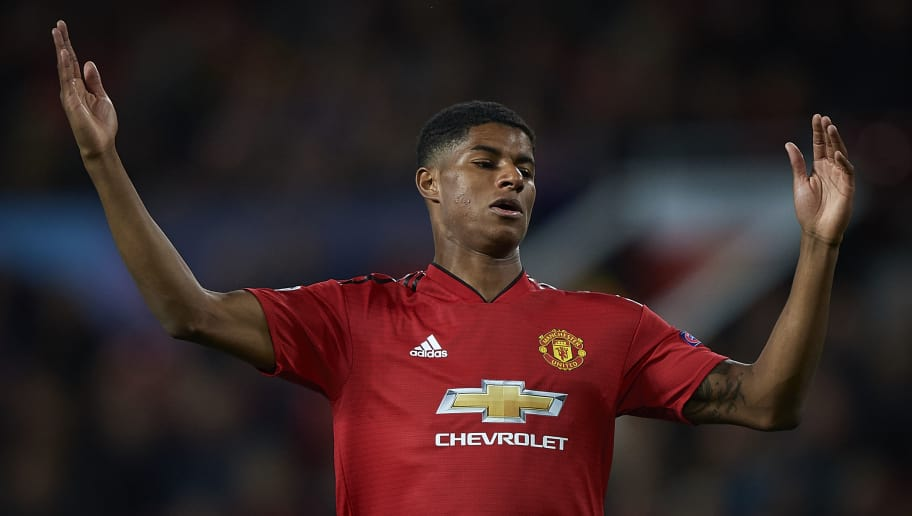 MANCHESTER, ENGLAND - OCTOBER 02:  Marcus Rashford of Manchester United reacts during the Group H match of the UEFA Champions League between Manchester United and Valencia at Old Trafford on October 2, 2018 in Manchester, United Kingdom.  (Photo by Quality Sport Images/Getty Images)