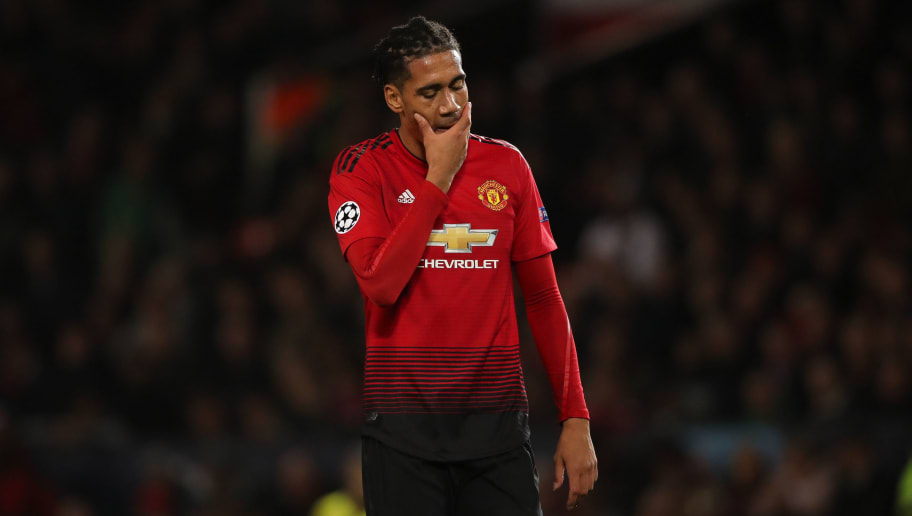 MANCHESTER, ENGLAND - OCTOBER 02: A dejected Chris Smalling of Manchester United during the Group H match of the UEFA Champions League between Manchester United and Valencia at Old Trafford on October 2, 2018 in Manchester, United Kingdom. (Photo by Matthew Ashton - AMA/Getty Images)