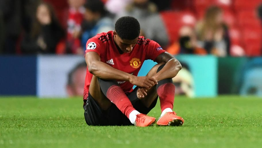 MANCHESTER, ENGLAND - OCTOBER 02:  Marcus Rashford of Manchester United reacts at the full time whistle after the Group H match of the UEFA Champions League between Manchester United and Valencia at Old Trafford on October 2, 2018 in Manchester, United Kingdom.  (Photo by Michael Regan/Getty Images)