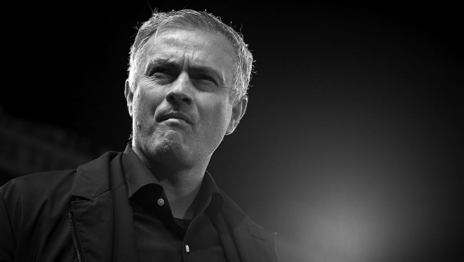 MANCHESTER, ENGLAND - OCTOBER 02:  (EDITORS NOTE: Image has been converted to black and white.)  Jose Mourinho, Manager of Manchester United looks on prior the Group H match of the UEFA Champions League between Manchester United and Valencia at Old Trafford on October 2, 2018 in Manchester, United Kingdom.  (Photo by Quality Sport Images/Getty Images)