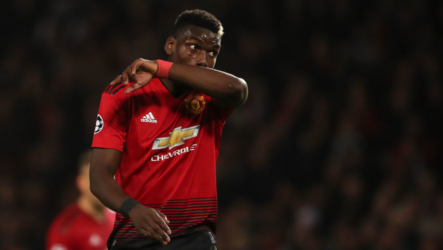 MANCHESTER, ENGLAND - OCTOBER 02: Paul Pogba of Manchester United reacts  during the Group H match of the UEFA Champions League between Manchester United and Valencia at Old Trafford on October 2, 2018 in Manchester, United Kingdom. (Photo by Matthew Ashton - AMA/Getty Images)