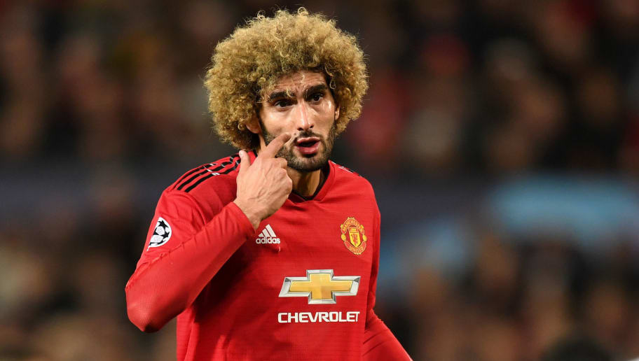 MANCHESTER, ENGLAND - OCTOBER 02:  Marouane Fellaini of Manchester United reacts during the Group H match of the UEFA Champions League between Manchester United and Valencia at Old Trafford on October 2, 2018 in Manchester, United Kingdom.  (Photo by Michael Regan/Getty Images)