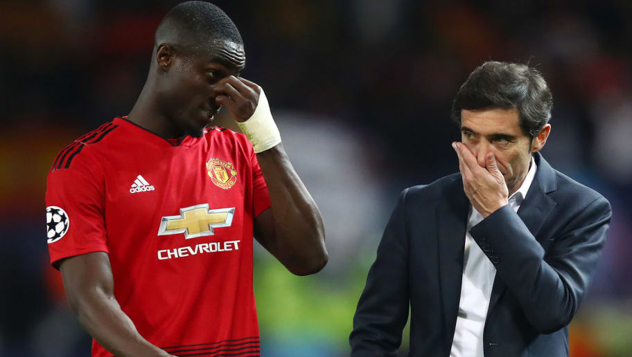 MANCHESTER, ENGLAND - OCTOBER 02:  Eric Bailly of Manchester United speaks with Marcelino Garcia Toral, Manager of Valencia after the Group H match of the UEFA Champions League between Manchester United and Valencia at Old Trafford on October 2, 2018 in Manchester, United Kingdom.  (Photo by Clive Brunskill/Getty Images)