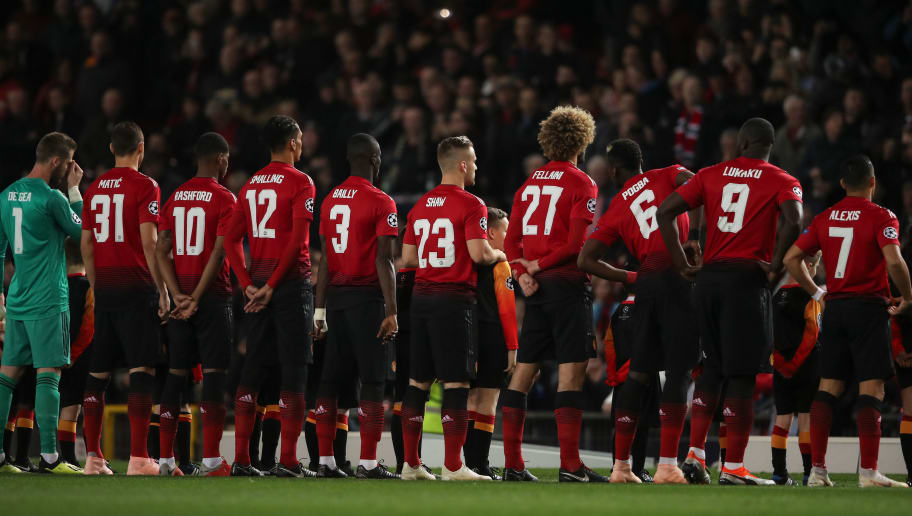 MANCHESTER, ENGLAND - OCTOBER 02: Players of Manchester United line up during the Group H match of the UEFA Champions League between Manchester United and Valencia at Old Trafford on October 2, 2018 in Manchester, United Kingdom. (Photo by Matthew Ashton - AMA/Getty Images)