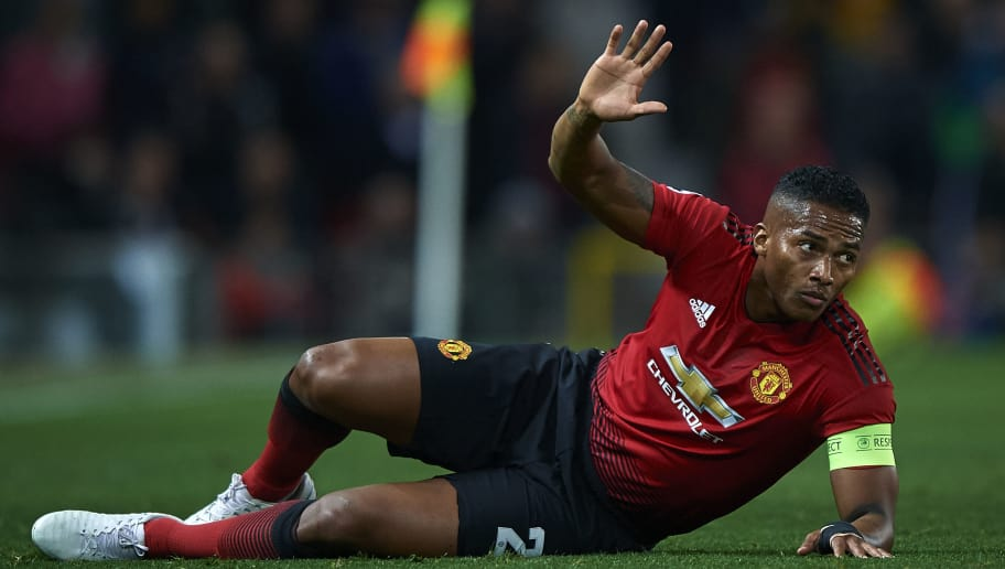 MANCHESTER, ENGLAND - OCTOBER 02:  Antonio Valencia of Manchester United lies on the pitch during the Group H match of the UEFA Champions League between Manchester United and Valencia at Old Trafford on October 2, 2018 in Manchester, United Kingdom.  (Photo by Quality Sport Images/Getty Images)