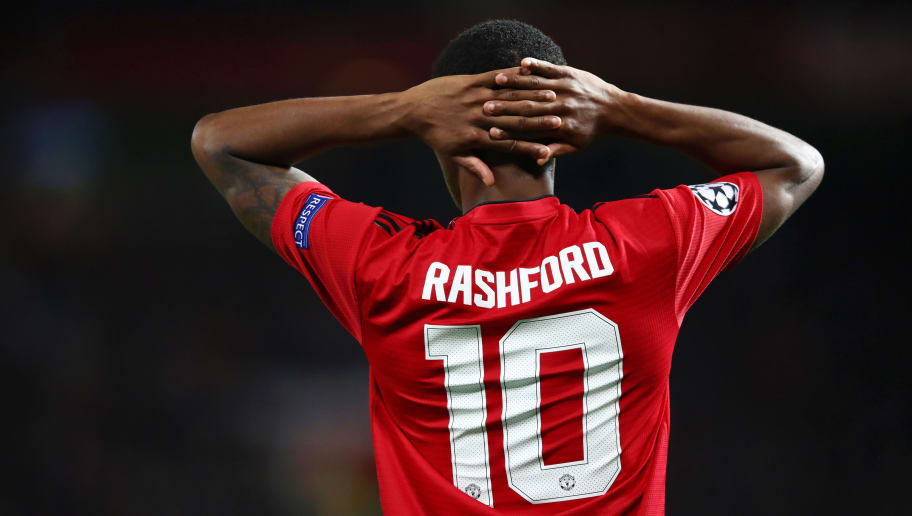 MANCHESTER, ENGLAND - OCTOBER 02:  Marcus Rashford of Manchester United reacts during the Group H match of the UEFA Champions League between Manchester United and Valencia at Old Trafford on October 2, 2018 in Manchester, United Kingdom.  (Photo by Clive Brunskill/Getty Images)