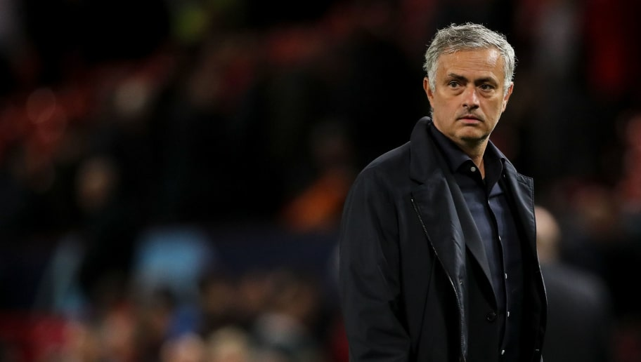 MANCHESTER, ENGLAND - OCTOBER 02: A dejected Jose Mourinho manager \ head coach of Manchester United walks off at full time during the Group H match of the UEFA Champions League between Manchester United and Valencia at Old Trafford on October 2, 2018 in Manchester, United Kingdom. (Photo by Matthew Ashton - AMA/Getty Images)