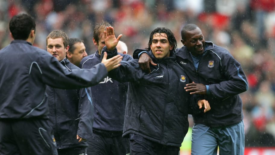 MANCHESTER, UNITED KINGDOM - MAY 13:  Carlos Tevez of West Ham United celebrates with his team mates after his team retained their Premiership status at the end of the Barclays Premiership match between Manchester United and West Ham United at Old Trafford on May 13, 2007 in Manchester, England.  (Photo by Alex Livesey/Getty Images)