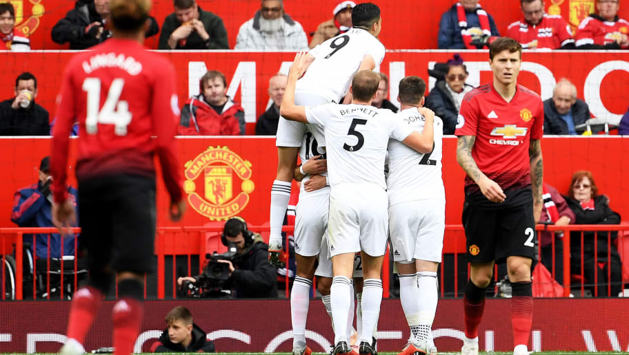 MANCHESTER, ENGLAND - SEPTEMBER 22:  Joao Moutinho of Wolverhampton Wanderers celebrates with teammates after scoring his team's first goal during the Premier League match between Manchester United and Wolverhampton Wanderers at Old Trafford on September 22, 2018 in Manchester, United Kingdom.  (Photo by Ross Kinnaird/Getty Images)