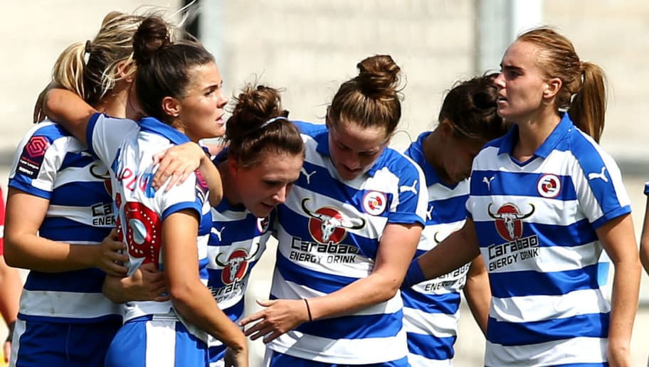 LEIGH, GREATER MANCHESTER - AUGUST 25:  Brooke Chaplen of Reading celebrates scoring her side's first goal with team mates during the FA WSL Continental Tyres Cup match between Manchester United and Reading at Leigh Sports Village on August 25, 2018 in Leigh, Greater Manchester.  (Photo by Jan Kruger/Getty Images)
