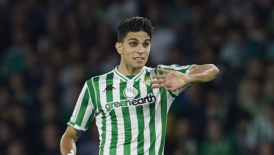 SEVILLE, SPAIN - OCTOBER 21:  Marc Bartra of Betis racts during the La Liga match between Real Betis Balompie and Real Valladolid CF at Estadio Benito Villamarin on October 21, 2018 in Seville, Spain.  (Photo by Quality Sport Images/Getty Images)