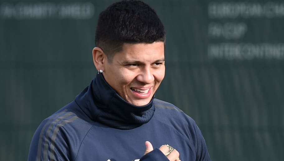 Manchester United's Argentinian defender Marcos Rojo arrives for a training session at the Carrington Training complex in Manchester, north west England on October 22, 2018, ahead of their UEFA Champions League group H football match against Juventus on October 23. (Photo by Oli SCARFF / AFP)        (Photo credit should read OLI SCARFF/AFP/Getty Images)