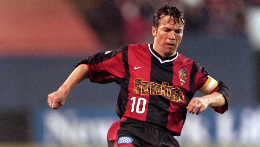 4 Apr 2000:  Lothar Mattaus #10 of the New Jersey/New York MetroStars moves with the ball during the game against the Columbus Crew at the Giants Stadium in East Rutherford, New Jersey. The Crew defeated the MetroStars 1-0. Mandatory Credit: Jamie Squire  /Allsport