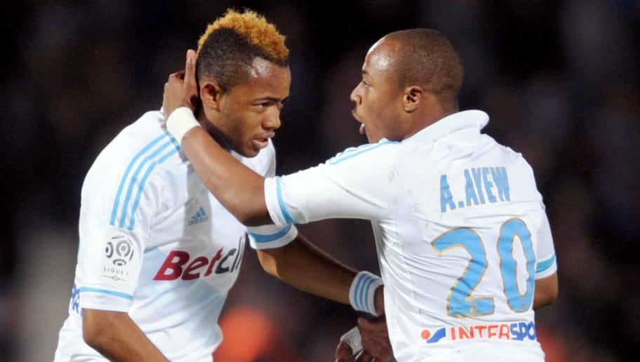 Marseille's forward Jordan Ayew (L) cele