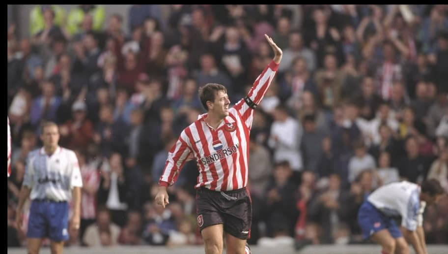 Matt Le Tissier of Southampton celebrates his two goals
