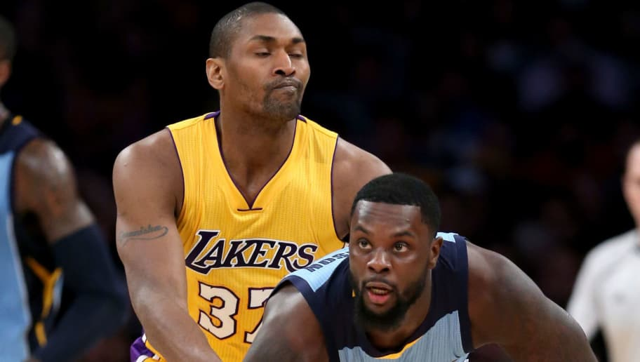 LOS ANGELES, CA - MARCH 22:  Metta World Peace #37 of the Los Angeles Lakers holds Lance Stephenson #1 of the Memphis Grizzlies during a game between the Los Angeles Lakers and Memphis Grizzlies  at Staples Center on March 22, 2016 in Los Angeles, California.  NOTE TO USER: User expressly acknowledges and agrees that, by downloading and or using this photograph, User is consenting to the terms and conditions of the Getty Images License Agreement.  (Photo by Sean M. Haffey/Getty Images)