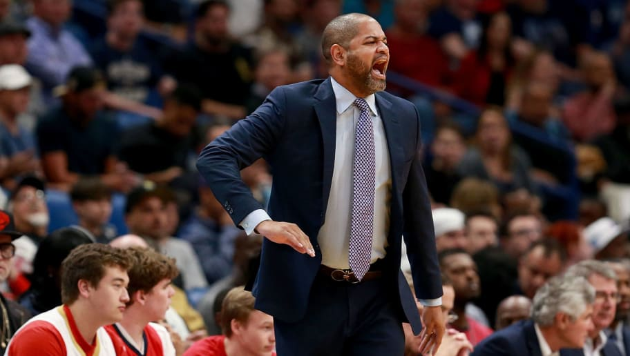 NEW ORLEANS, LA - APRIL 04:  J.B. Bickerstaff of the Memphis Grizzlies argues a call during the first half of a NBA game against the Memphis Grizzlies at the Smoothie King Center on April 4, 2018 in New Orleans, Louisiana. NOTE TO USER: User expressly acknowledges and agrees that, by downloading and or using this photograph, User is consenting to the terms and conditions of the Getty Images License Agreement.  (Photo by Sean Gardner/Getty Images)