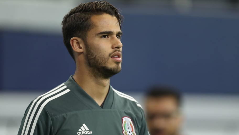 ARLINGTON, TX - MARCH 26: Diego Reyes of Mexico looks on during the Mexico training session ahead of the FIFA friendly match against Croatia at AT&T Stadium on March 26, 2018 in Arlington, Texas.  (Photo by Omar Vega/Getty Images)