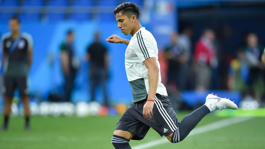 ROSTOV, RUSSIA - JUNE 22: Carlos Salcedo of Mexico kicks the ball during a training session ahead of the match against Korea as part of FIFA World Cup Russia 2018 at Rostov Arena on June 22, 2018 in Rostov, Russia. (Photo by Hector Vivas/Getty Images)