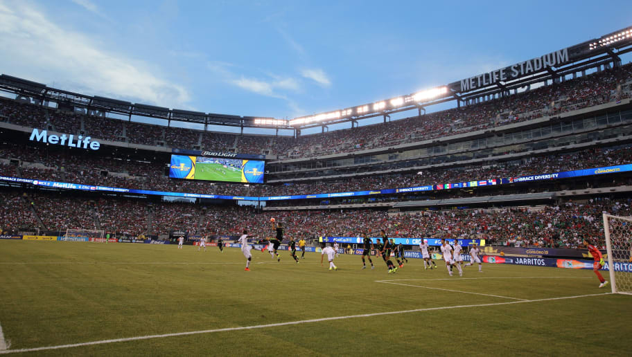 EAST RUTHERFORD, NJ - JULY 19: A general view of the MetLife Stadium during the Gold Cup Quarter Final between Mexico and Costa Rica at MetLife Stadium on July 19, 2015 in East Rutherford, New Jersey. (Photo by Matthew Ashton - AMA/Getty Images)