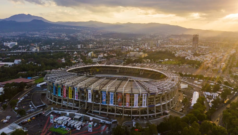 MEXICO CITY, MEXICO - JUNE 08: Aerial view of Azteca Stadium during the match between Mexico and Honduras as part of the FIFA 2018 World Cup Qualifiers at Azteca Stadium on June 08, 2017 in Mexico City, Mexico. (Photo by Hector Vivas/LatinContent/Getty Images)