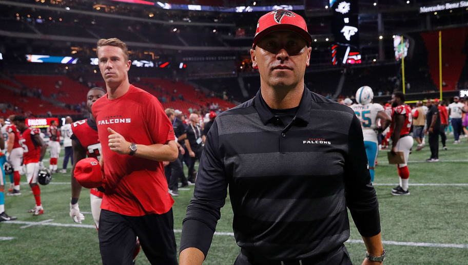 ATLANTA, GA - AUGUST 30:  Offensive coodinator Steve Sarkisian and Matt Ryan #2 of the Atlanta Falcons walk off the field after their 34-7 loss the Miami Dolphins at Mercedes-Benz Stadium on August 30, 2018 in Atlanta, Georgia.  (Photo by Kevin C. Cox/Getty Images)