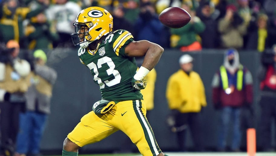 4f7e31b12 Packers RB Aaron Jones Giving Game Ball to Service-Member Parents in Honor  of Veterans Day