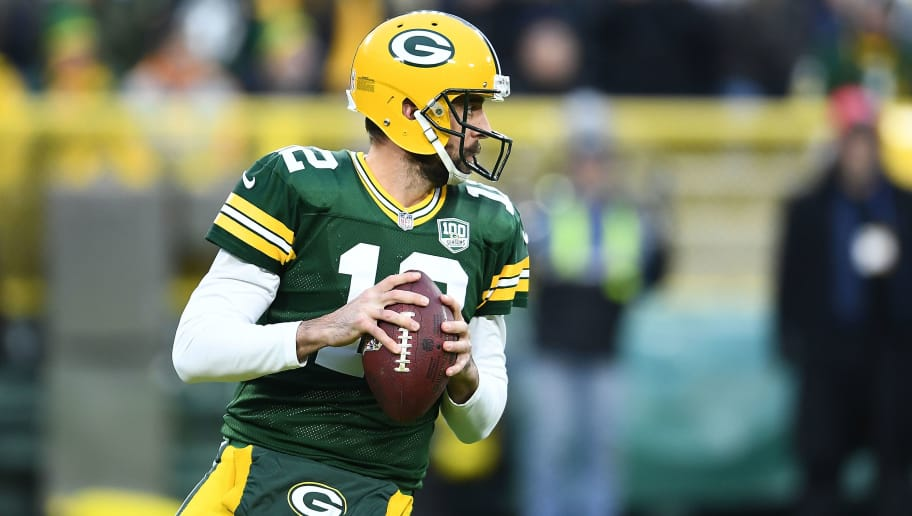 GREEN BAY, WI - NOVEMBER 11:  Aaron Rodgers #12 of the Green Bay Packers drops back to pass during a game against the Miami Dolphins at Lambeau Field on November 11, 2018 in Green Bay, Wisconsin.  The Packers defeated the Dolphins 31-12.  (Photo by Stacy Revere/Getty Images)