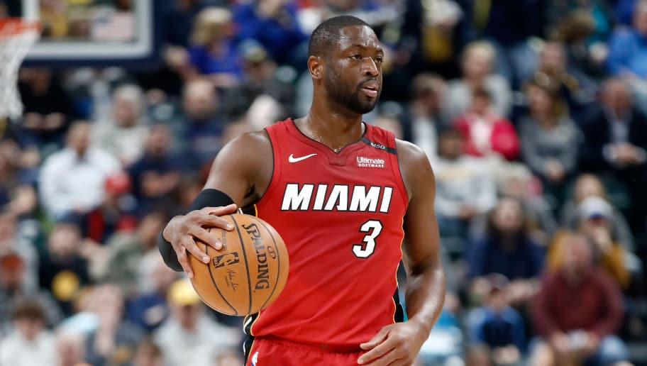 INDIANAPOLIS, IN - MARCH 25:  Dwyane Wade #3 of the Miami Heat dribbles the ball against the Indiana Pacers during the game at Bankers Life Fieldhouse on March 25, 2018 in Indianapolis, Indiana.  NOTE TO USER: User expressly acknowledges and agrees that, by downloading and or using this photograph, User is consenting to the terms and conditions of the Getty Images License Agreement.  (Photo by Andy Lyons/Getty Images)
