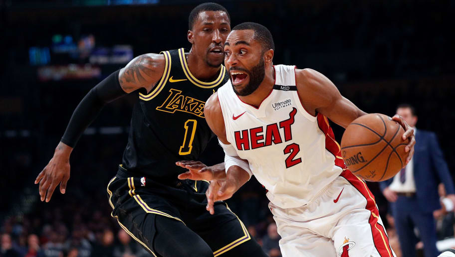 LOS ANGELES, CA - MARCH 16:  Wayne Ellington #2 of the Miami Heat drives to the basket against Kentavious Caldwell-Pope #1 of the Los Angeles Lakers during the first quarter of the game at Staples Center on March 16, 2018 in Los Angeles, California.  NOTE TO USER: User expressly acknowledges and agrees that, by downloading and or using this photograph, User is consenting to the terms and conditions of the Getty Images License Agreement.  (Photo by Josh Lefkowitz/Getty Images)