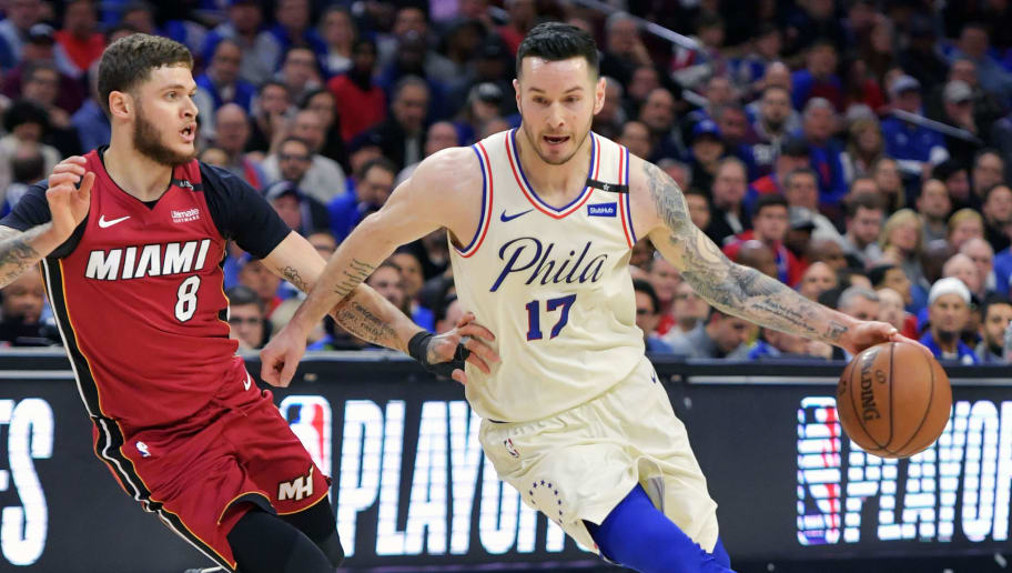 PHILADELPHIA, PA - APRIL 24: JJ Redick #17 of the Philadelphia 76ers drives past Tyler Johnson #8 of the Miami Heat at Wells Fargo Center on April 24, 2018 in Philadelphia, Pennsylvania. (Photo by Drew Hallowell/Getty Images)