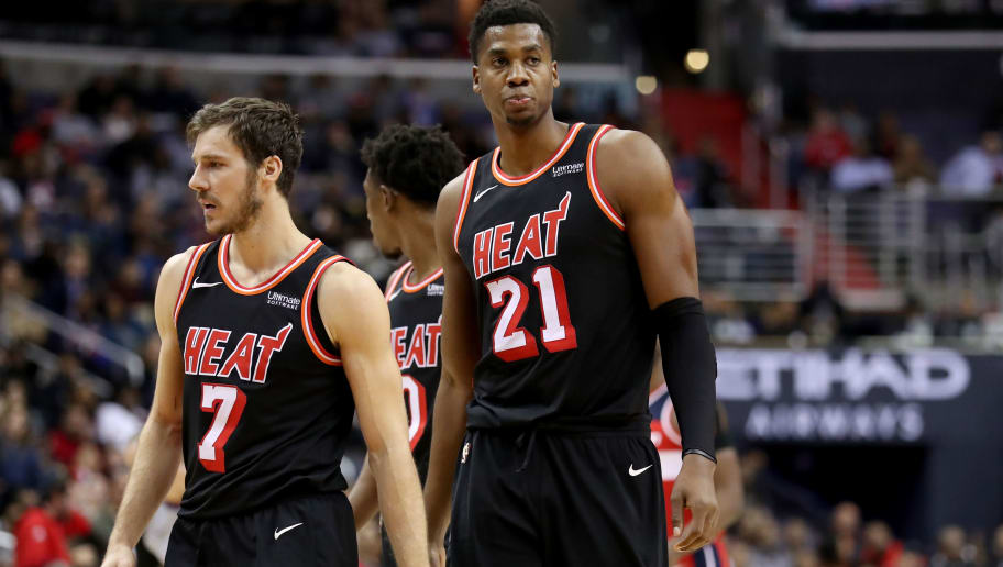 WASHINGTON, DC - NOVEMBER 17: Goran Dragic #7 and Hassan Whiteside #21 of the Miami Heat walk up the floor against the Washington Wizards at Capital One Arena on November 17, 2017 in Washington, DC. NOTE TO USER: User expressly acknowledges and agrees that, by downloading and or using this photograph, User is consenting to the terms and conditions of the Getty Images License Agreement. (Photo by Rob Carr/Getty Images)