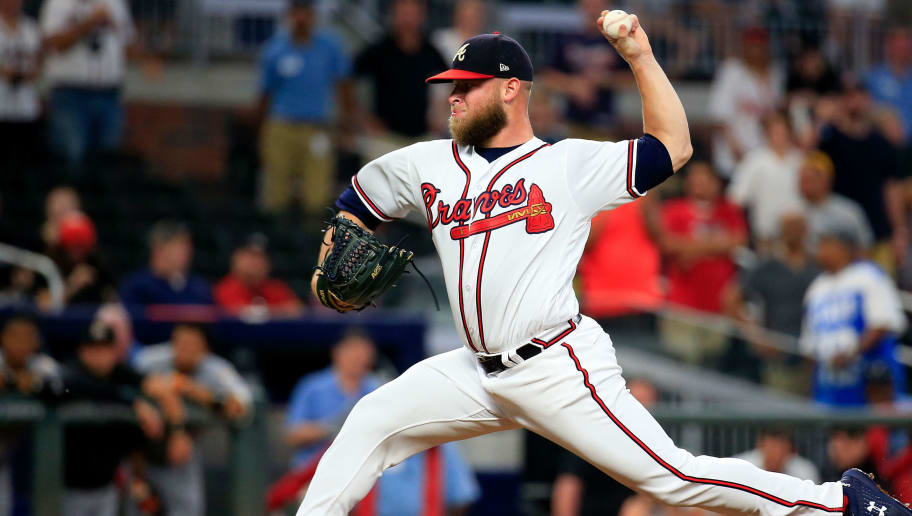 ATLANTA, GA - AUGUST 15: A.J. Minter #33 of the Atlanta Braves pitches during the ninth inning against the Miami Marlins at SunTrust Park on August 15, 2018 in Atlanta, Georgia. (Photo by Daniel Shirey/Getty Images)