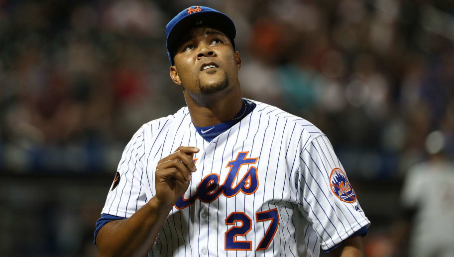 NEW YORK, NY - MAY 23:  Jeurys Familia #27 of the New York Mets looks on after giving up two runs in the ninth inning against the Miami Marlins during their game at Citi Field on May 23, 2018 in New York City.  (Photo by Al Bello/Getty Images)