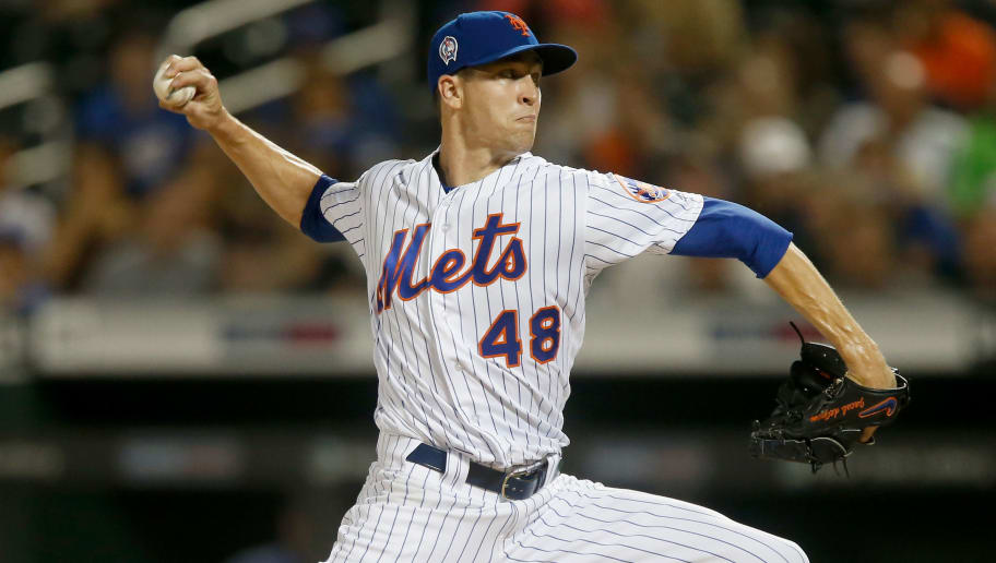 NEW YORK, NY - SEPTEMBER 11:  Jacob deGrom #48 of the New York Mets in action against the Miami Marlins at Citi Field on September 11, 2018 in the Flushing neighborhood of the Queens borough of New York City. The Marlins defeated the New York Mets 5-3.  (Photo by Jim McIsaac/Getty Images)