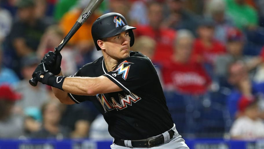PHILADELPHIA, PA - SEPTEMBER 15: J.T. Realmuto #11 of the Miami Marlins in action against the Philadelphia Phillies during a game at Citizens Bank Park on September 15, 2018 in Philadelphia, Pennsylvania. (Photo by Rich Schultz/Getty Images)
