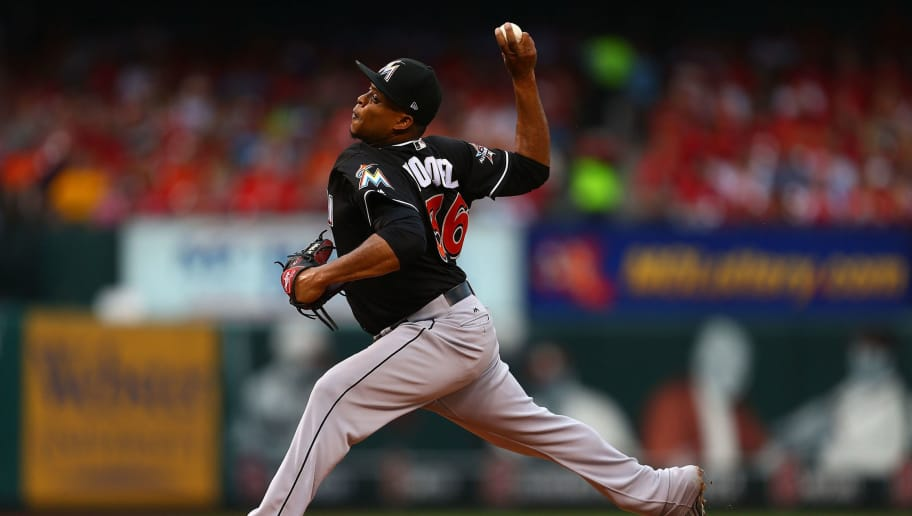 ST. LOUIS, MO - JULY 5:  Starter Edinson Volquez #36 of the Miami Marlins delivers a pitch against the St. Louis Cardinals in the first inning at Busch Stadium on July 5, 2017 in St. Louis, Missouri.  (Photo by Dilip Vishwanat/Getty Images)