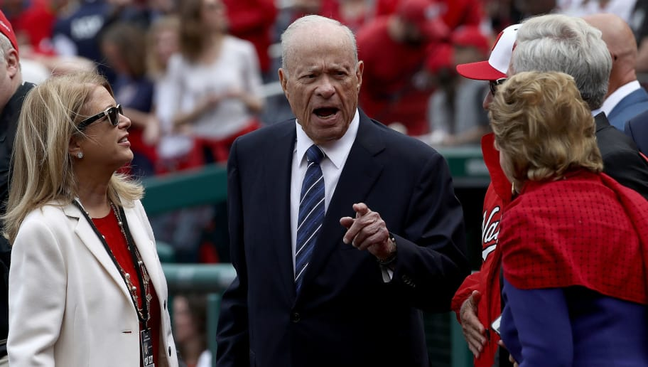 WASHINGTON, DC - APRIL 03:  Washington Nationals owner Ted Lerner (C) speaks with family members before the start of the Opening Day game against the Miami Marlins on April 3, 2017 at Nationals Park in Washington, DC. The Nationals won 4-2. Also pictured is Nationals General Manager Mike Rizzo (R).  (Photo by Win McNamee/Getty Images)