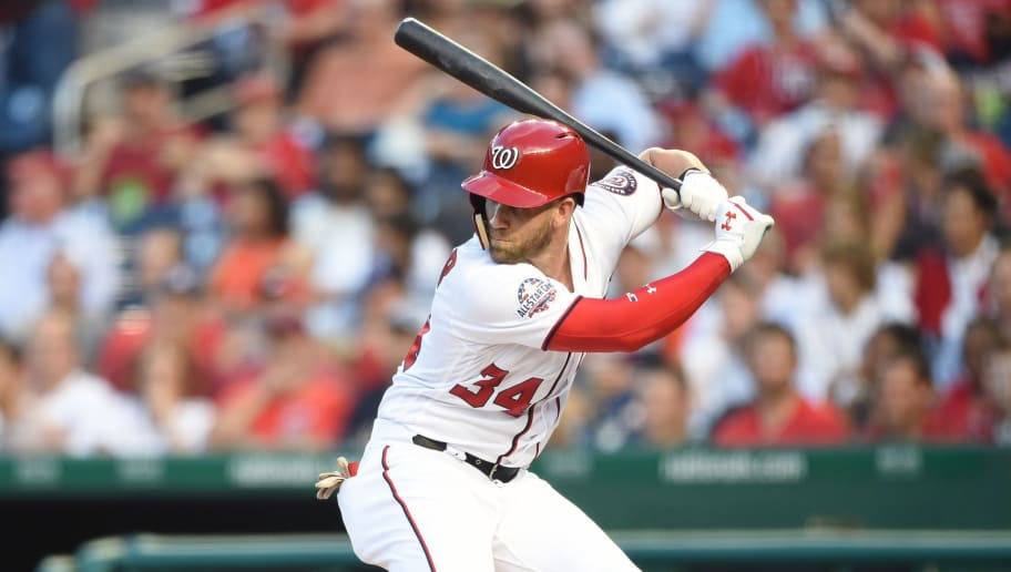 WASHINGTON, DC - JULY 05:  Bryce Harper #34 of the Washington Nationals prepares for a pitch during a baseball game against the Miami Marlins at Nationals Park on July 5, 2018 in Washington, DC.  The Nationals won 14-12.  (Photo by Mitchell Layton/Getty Images)