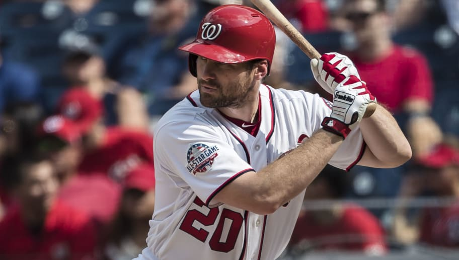WASHINGTON, DC - AUGUST 19: Daniel Murphy #20 of the Washington Nationals at bat against the Miami Marlins during the seventh inning at Nationals Park on August 19, 2018 in Washington, DC.  (Photo by Scott Taetsch/Getty Images)