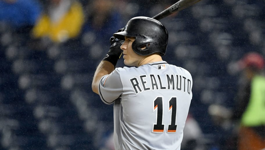 WASHINGTON, DC - SEPTEMBER 24:  J.T. Realmuto #11 of the Miami Marlins bats against the Washington Nationals at Nationals Park on September 24, 2018 in Washington, DC.  (Photo by G Fiume/Getty Images)
