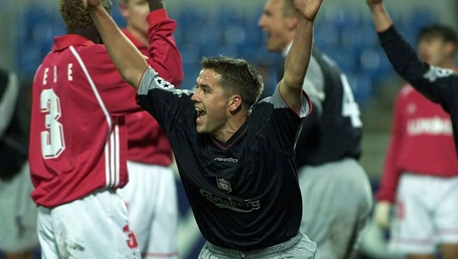 MOSCOW - OCTOBER 22:  Michael Owen of Liverpool celebrates scoring during the UEFA Champions League, Group B match between Spartak Moscow and Liverpool on October 22, 2002 at the Dynamo Stadium, Moscow, Russia. (Photo by Tatyana Makeyeva/Getty Images)