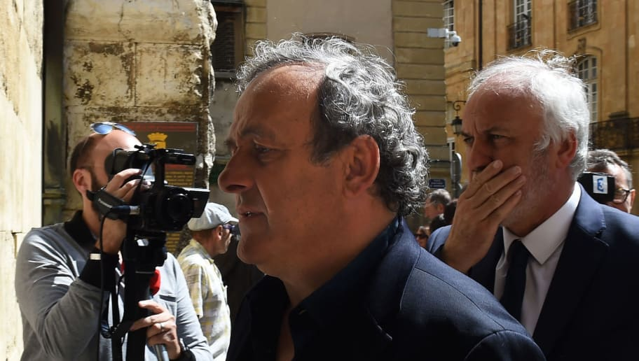 French former football player and former UEFA head Michel Platini  attends the funeral ceremony of former France football coach Henri Michel at the Saint-Sauveur Cathedral in Aix-en-Provence, southeastern France, on April 27, 2018. - Former France football coach Henri Michel, who led Les Bleus to the 1984 Olympic title, has died at the age of 70, the French players' union announced on April 24, 2018. (Photo by BORIS HORVAT / AFP)        (Photo credit should read BORIS HORVAT/AFP/Getty Images)