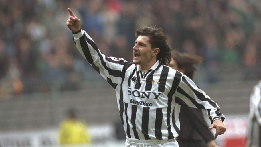 2 Mar 1997:  Michele Padovano of Juventus celebrates during a Serie A match against Piacenza at Stadio Delle Alpin, home of Juventus, Turin. \ Mandatory Credit: Allsport UK /Allsport
