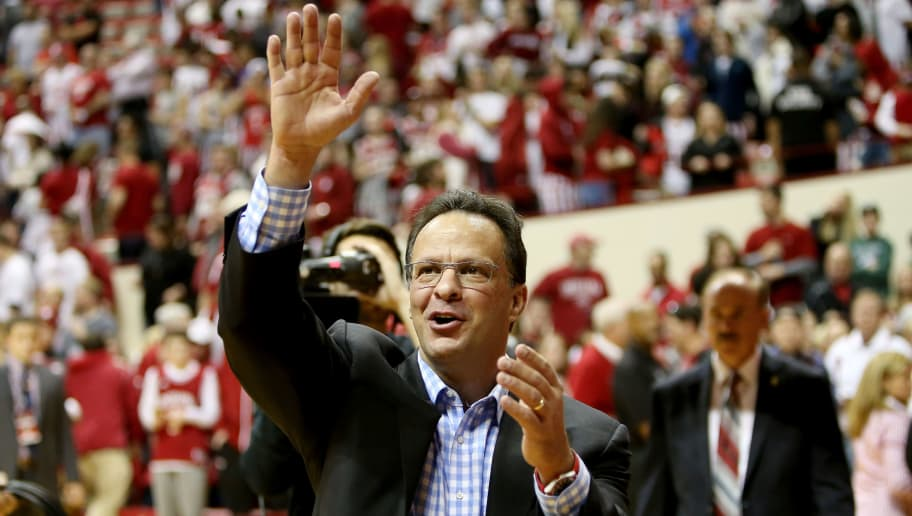BLOOMINGTON, IN - JANUARY 21:  Head coach Tom Crean of the Indiana Hoosiers waves to the crowd after beating the Michigan State Spartans 82-75 at Assembly Hall on January 21, 2017 in Bloomington, Indiana. (Photo by Dylan Buell/Getty Images)