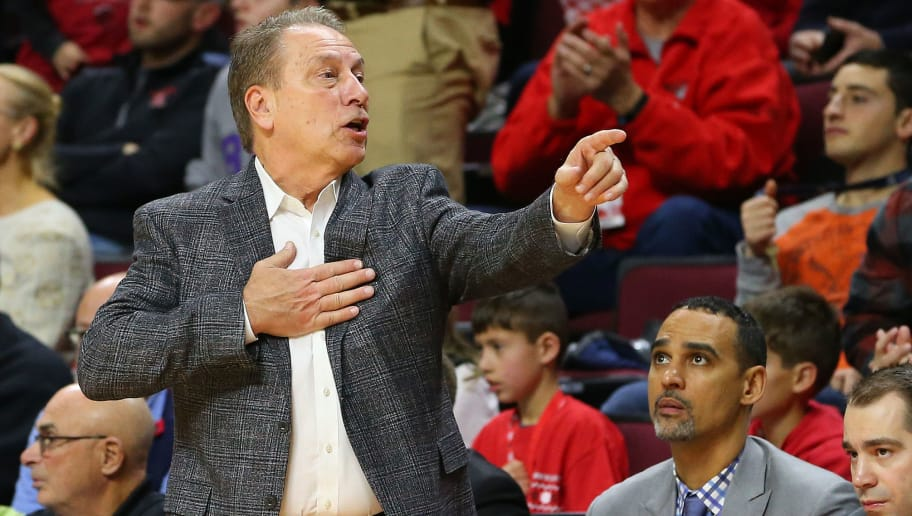 PISCATAWAY, NJ - NOVEMBER 30: Head coach Tom Izzo of the Michigan State Spartans against the Rutgers Scarlet Knights during a college basketball game at the Rutgers Athletic Center on November 30, 2018 in Piscataway, New Jersey. Michigan State defeated Rutgers 78-67. (Photo by Rich Schultz/Getty Images)
